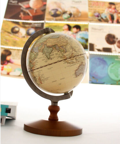 US 14cm Wool World Globe Educational Decor Model Vintage Reference Atlases Map