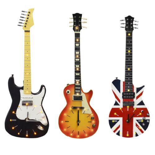 Novelty Wall Mounted Hanging Guitar Wall Clocks Modern Wall Decor With LEDs