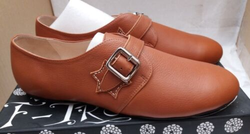 Women's F-Troupe Tan Leather Flat Buckle Shoes