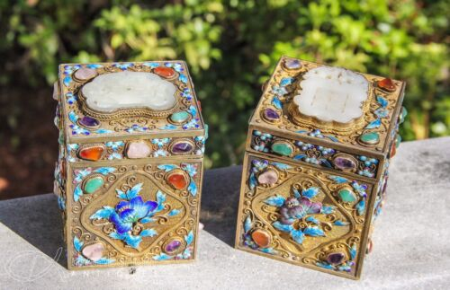PAIR OF OLD CHINESE GILT ENAMELED SILVER COVERED TEA CADDIES BOXES W JADE