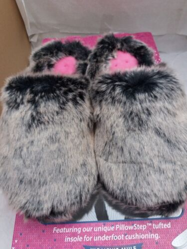 Ladies Isotoner Pillowstep Faux Fur Mule Slippers In Grey Tipped Fur