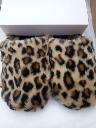 Ladies Isotoner Pillowstep Faux Fur Mule Slippers In Beige Leopard Fur