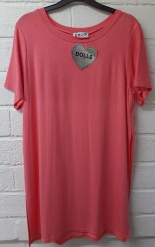 Women Ladies New Long Oversize Baggy Side Split Stretchy Top/TShirt/DressUK10-14