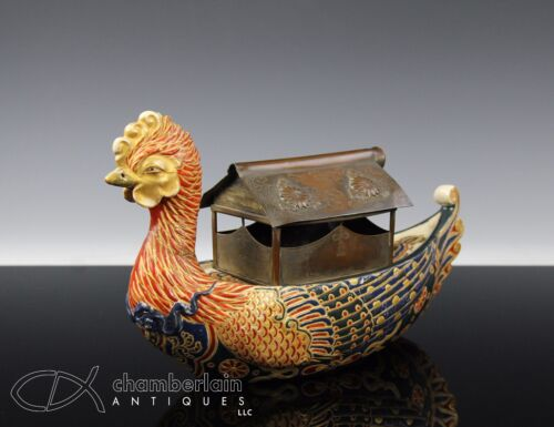 UNUSUAL ANTIQUE JAPANESE SATSUMA SCULPTURE OF A BOAT WITH GOSU BLUE