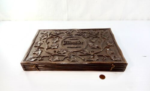 Antique Black Forest Carved Wood Lidded Box With Monogram