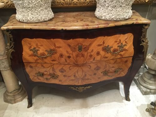 Antique Fine French INLAID & Bronze Mounted Marble Top Louis XV COMMODE Dresser