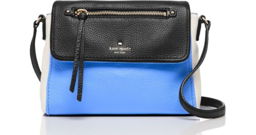 NWT Kate Spade Cobble Hill Large Toddy Leather Bag: Black/Blue/Cement-#PXRU6018