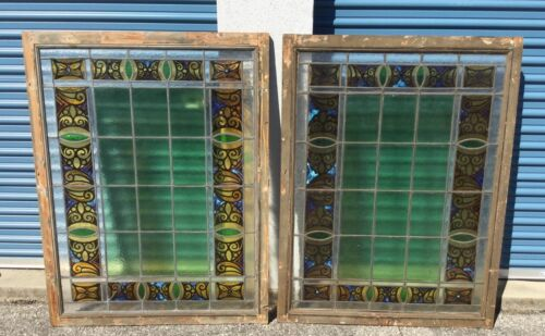 Pair Antique Holland Painted & Fired Stained Glass Windows Pennsylvania Barn