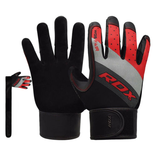 RDX Full Finger Weight Lifting Gloves Workout Leather Wrist Strap Gym Training U