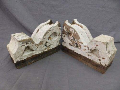 Antique Pair Corbels Wood Small Victorian Architectural Shabby Vtg Chic 511-17P