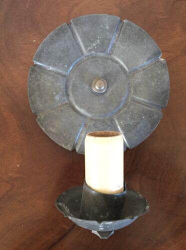 Vintage Pewter Round Wall Scone for Candle Light Bulb Pull Chain Colonial Cabin