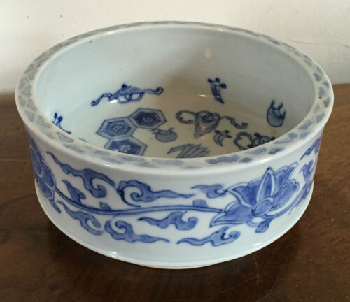 Antique Chinese Porcelain Blue & White Bowl Precious Objects 19th century