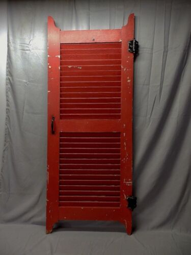Antique House Window Wood Louver Shutters Firehouse Red Chic 61X24 11-18P