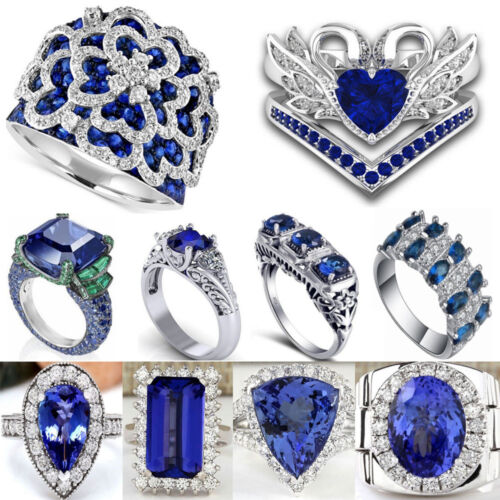 925 Silver Filled Jewelry Sapphire Gemstone Ring Band Wedding Women Men Party