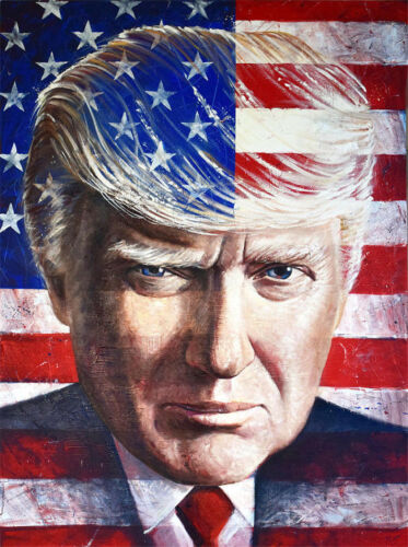 CHOP37 100% handpainted abstract USA Donald Trump oil painting art on canvas