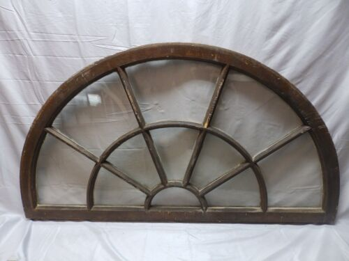 Large Wide Antique Arched Dome Top Palladian Window Old Vintage 62x35   82-18P