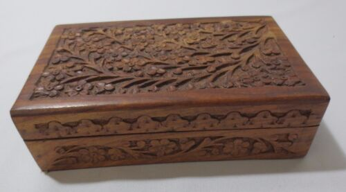 Vintage Hand Carved Wooden Jewelry or Trinket Box  Flowers