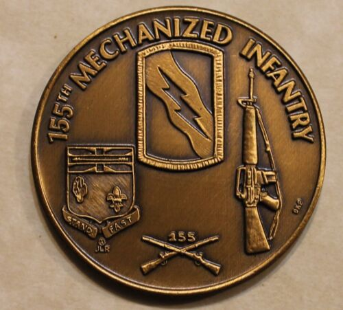 155th Mechanized Infantry Serrated Edge Army Challenge CoinOriginal Period Items - 13983