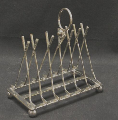 Vintage Silver Plate Golf Clubs Toast Rack Holder