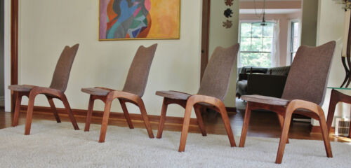 Set of 4 Mid Century Chet Beardsley Dining Chairs, Pearsall Style, Danish Modern