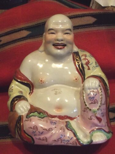 Vintage SEATED BUDDHA STATUE Famille Rose