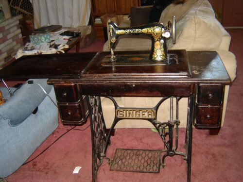 VINTAGE SINGER TREADLE SEWING MACHINE With CABINET and CAST IRON FRAME BASE