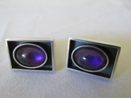 Vintage Sterling Silver and Amethyst Cufflinks Very Nice