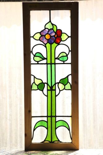Large Tall Antique Stained Glass Window Six Color Variegated Daisies (3117)