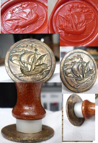 Sailing Ship  WAX  STAMP DESKTOP SEAL  brass