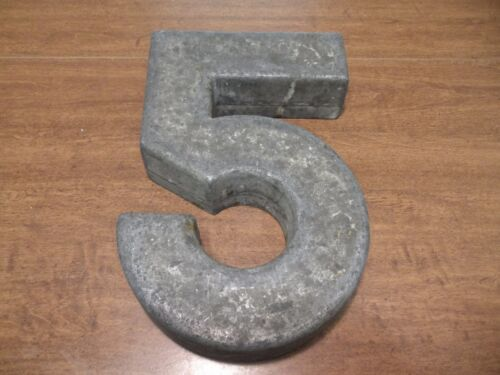 """Mid Century Metal Architectural Building Number 5 Sign Art Deco About 13"""""""