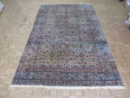 9'7 X 15 Hand Knotted Ivory Persian Fine Antique Kerman Oriental Rug G2851