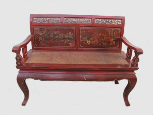 Vintage Chinese red wood & wicker bench # 298