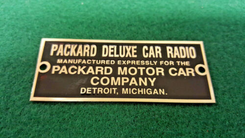 Packard Deluxe Car Radio data plate Acid Etched Brass Detroit Michigan