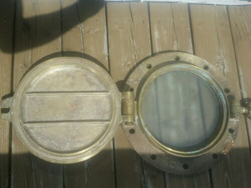 Antique Brass Porthole, J & J Woods rainhill Steampunk Nautical Decor