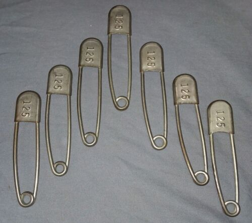 7 Vtg Industrial Large Nickel Over Brass Safety Pins Clothing Tag 125    40-18F
