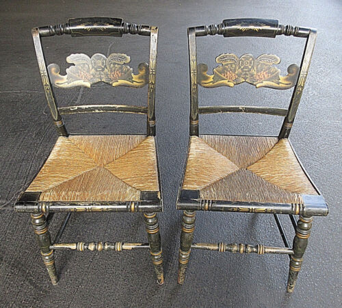 COLLECTIBLE 1850'S ANTIQUE MATCHING PAIR STENCILED HITCHCOCK RUSH SEAT CHAIRS