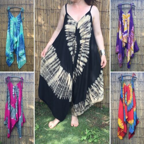 Tie dye festival jumpsuit hippy hippie boho baggy wide leg romper holiday