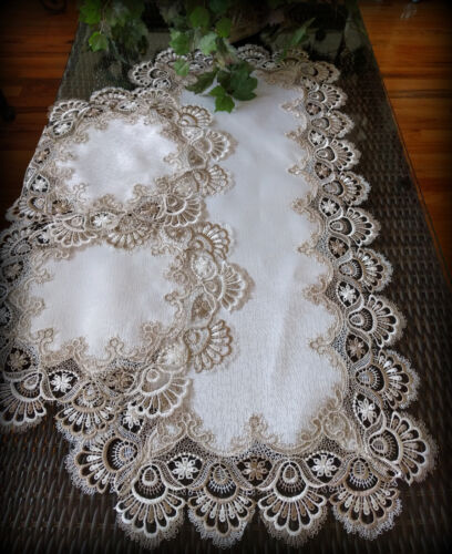 """Table Runner Dresser Scarf Taupe Lace Antique White 36"""" PLUS 2 Round Doilies"""