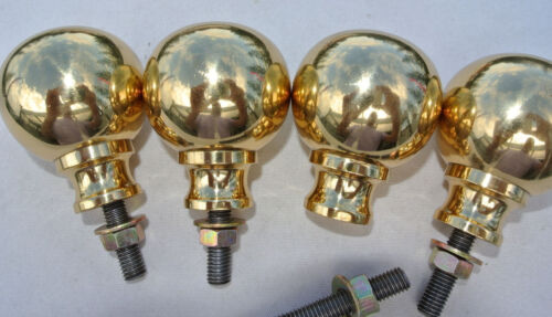 """BED KNOBS 4 solid Brass small 2.1/4"""" high old style COT heavy vintage polished B"""