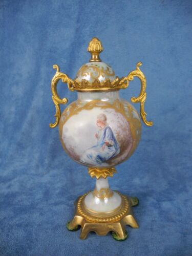 Antique Sevres France Demi Urn Hand Painted