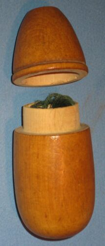 """VINTAGE TREEN WARE LIFT TOP CYLINDRICAL THREAD HOLDER 4""""H CA EARLY 1900's"""