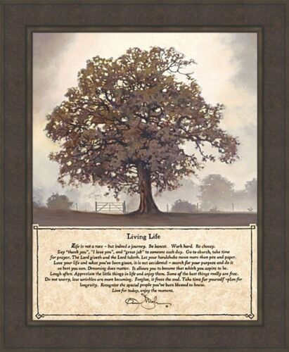 LIVING LIFE by Bonnie Mohr 28x34 FRAMED ART PICTURE Inspirational TREE of LIFE