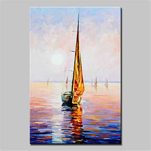 CHOP725  hand painted abstract landscape sailboat oil painting home art canvas