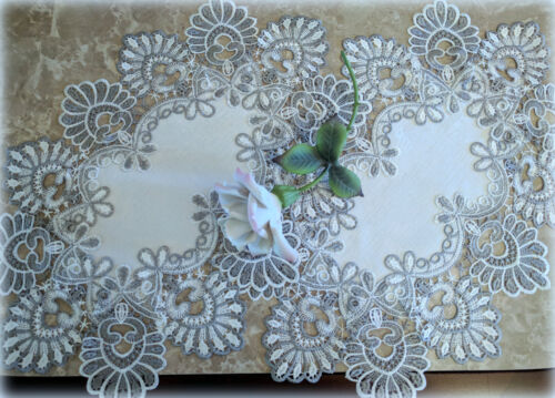 Dresser Scarf Doily Place mat Set of Two Silver Gray Lace Antique White Ivory