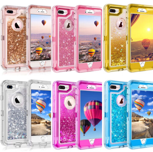 For iPhone 6 6S 7 8 X Plus Glitter Liquid Defender Case Belt Clip Fits Otterbox