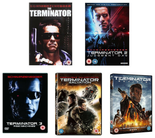 TERMINATOR 1-5 1984-2015 Judgment Day/Salvation/Rise of/Genisys Rg2 DVD not US