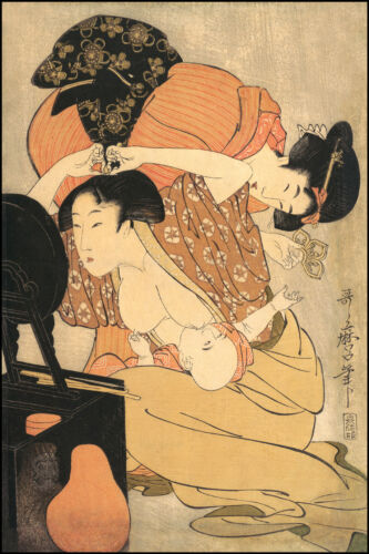 Japanese Art Print: A Mother and her Child: Utamaro Reproduction