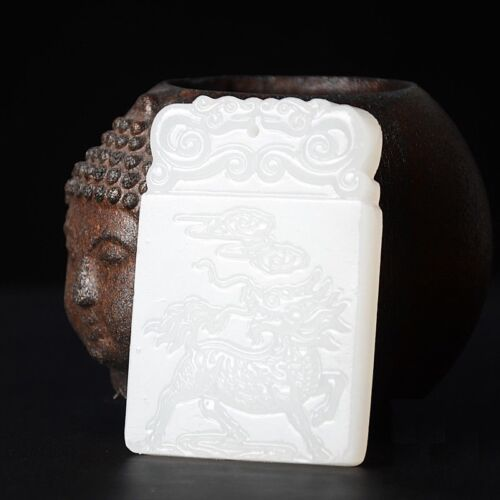 Ancient Chinese Mythical Kirin Hand-Carved Hetian White Jade Amulets Pendant