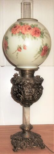 ANTIQUE VICTORIAN OIL KEROSENE/ ELECTRIC - GONE WITH THE WIND PARLOR LAMP