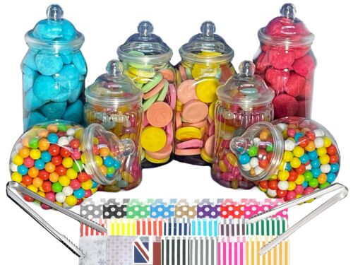 8 Assorted Plastic Sweet Jars 2 Tongs 50 Bags TWO STYLES OF LID Candy Buffet